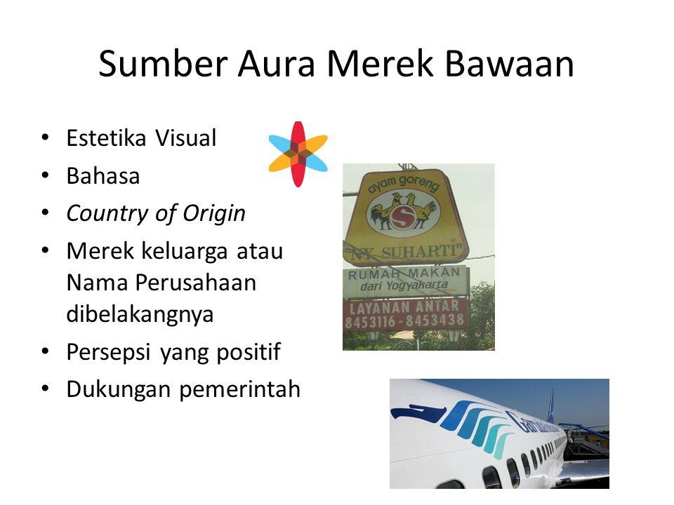 Sumber Aura Merek Bawaan Estetika Visual Bahasa Country of Origin Merek keluarga atau Nama Perusahaan dibelakangnya Persepsi yang positif Dukungan pemerintah