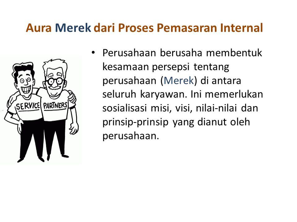 Aura Merek dari Proses Pemasaran Internal Perusahaan berusaha membentuk kesamaan persepsi tentang perusahaan (Merek) di antara seluruh karyawan.