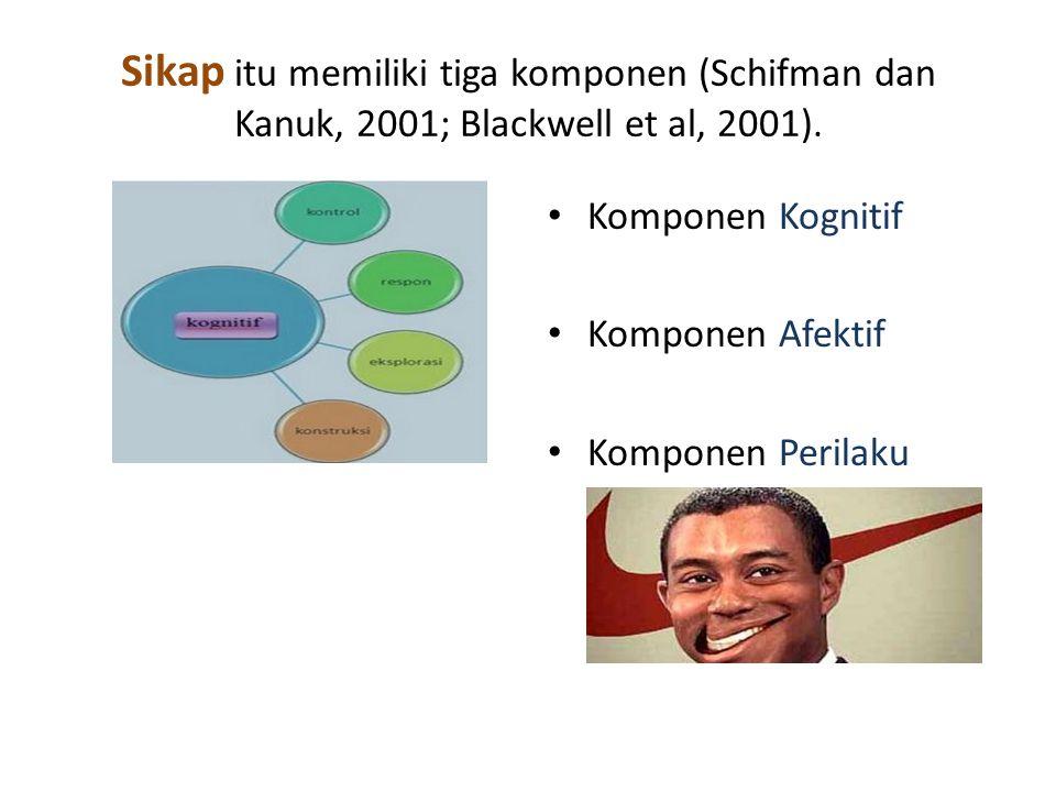 Sikap itu memiliki tiga komponen (Schifman dan Kanuk, 2001; Blackwell et al, 2001).
