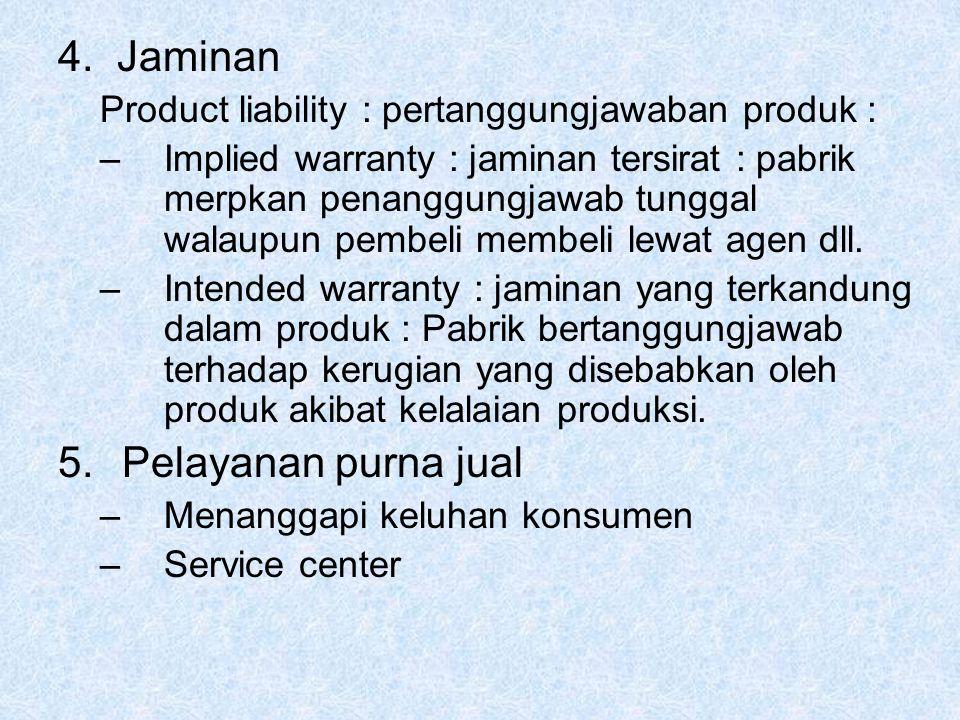 4. Jaminan Product liability : pertanggungjawaban produk : –Implied warranty : jaminan tersirat : pabrik merpkan penanggungjawab tunggal walaupun pemb