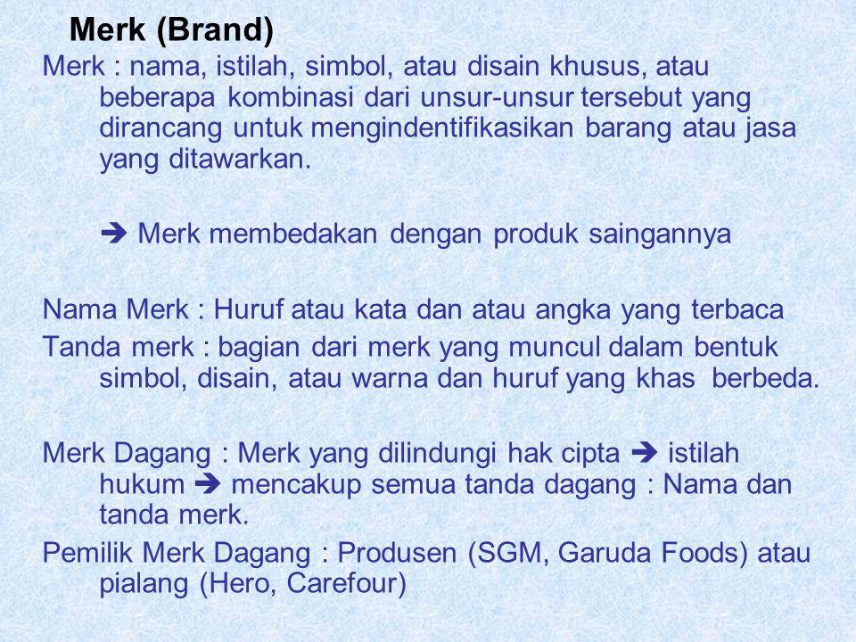 Merk (Brand) Merk : nama, istilah, simbol, atau disain khusus, atau beberapa kombinasi dari unsur-unsur tersebut yang dirancang untuk mengindentifikas