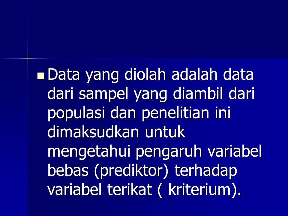 Data yang diolah adalah data dari sampel yang diambil dari populasi dan penelitian ini dimaksudkan untuk mengetahui pengaruh variabel bebas (prediktor