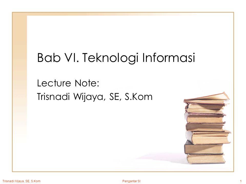 Trisnadi Wijaya, SE, S.Kom Pengantar SI1 Bab VI.