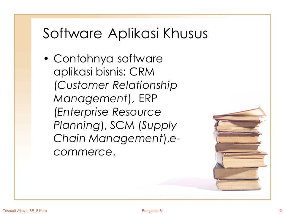Trisnadi Wijaya, SE, S.Kom Pengantar SI13 Software Aplikasi Khusus Contohnya software aplikasi bisnis: CRM (Customer Relationship Management), ERP (Enterprise Resource Planning), SCM (Supply Chain Management),e- commerce.