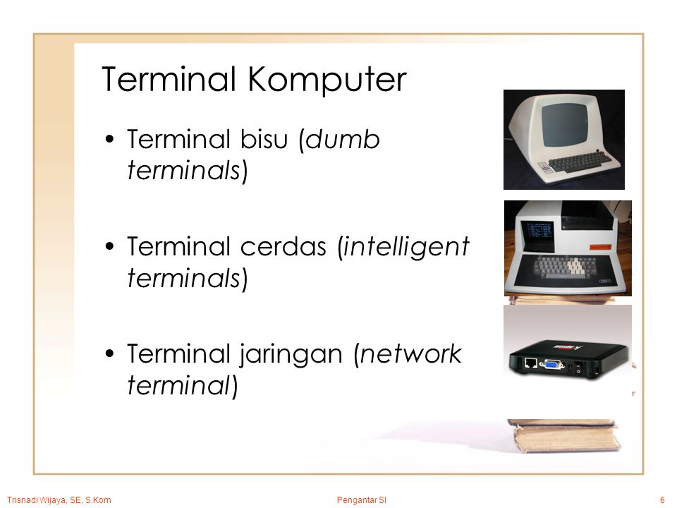 Trisnadi Wijaya, SE, S.Kom Pengantar SI6 Terminal Komputer Terminal bisu (dumb terminals) Terminal cerdas (intelligent terminals) Terminal jaringan (network terminal)