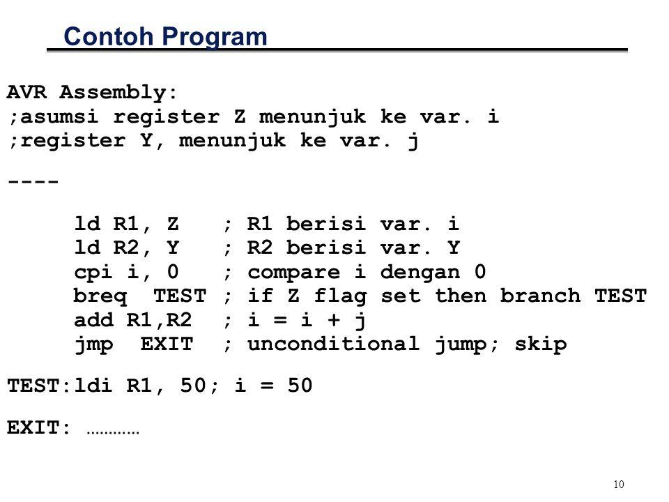 10 Contoh Program AVR Assembly: ;asumsi register Z menunjuk ke var. i ;register Y, menunjuk ke var. j ---- ld R1, Z ; R1 berisi var. i ld R2, Y ; R2 b