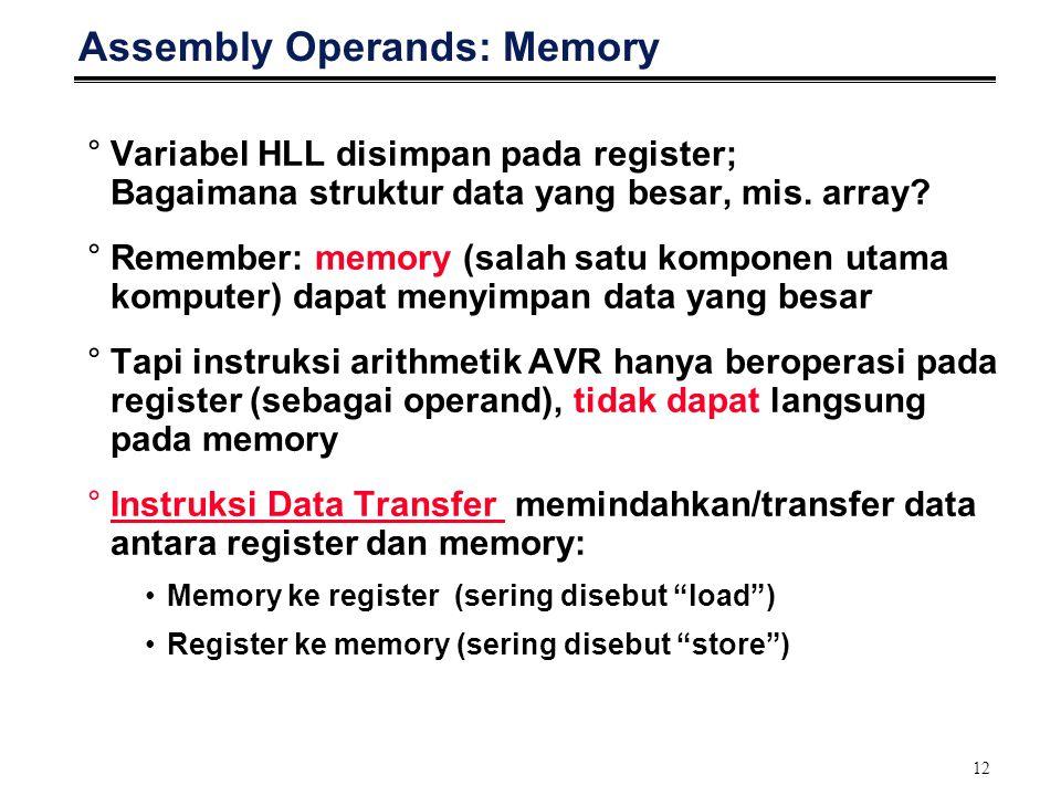 12 Assembly Operands: Memory °Variabel HLL disimpan pada register; Bagaimana struktur data yang besar, mis. array? °Remember: memory (salah satu kompo