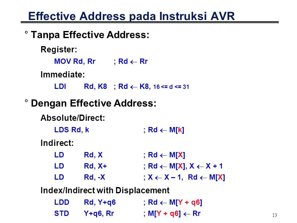 13 Effective Address pada Instruksi AVR °Tanpa Effective Address: Register: MOV Rd, Rr ; Rd  Rr Immediate: LDI Rd, K8 ; Rd  K8, 16 <= d <= 31 °Denga