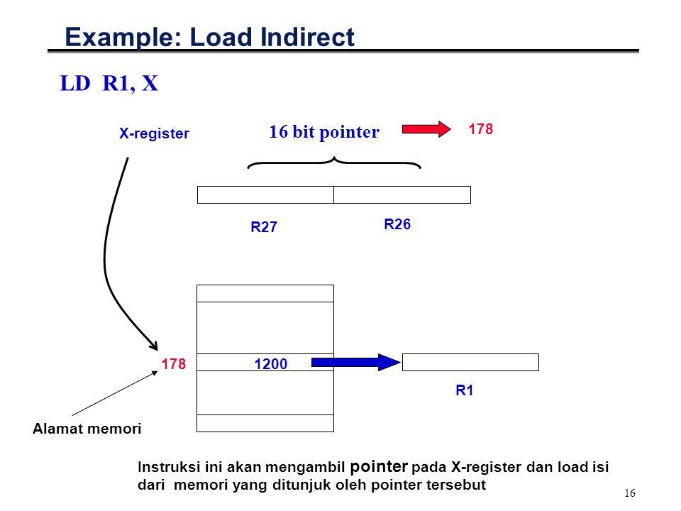 16 Example: Load Indirect LD R1, X 178 R27 16 bit pointer R26 X-register 178 Alamat memori R1 1200 Instruksi ini akan mengambil pointer pada X-registe