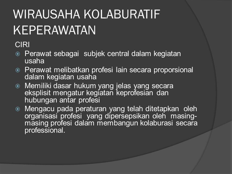 WIRAUSAHA KOLABURATIF KEPERAWATAN CIRI  Perawat sebagai subjek central dalam kegiatan usaha  Perawat melibatkan profesi lain secara proporsional dal