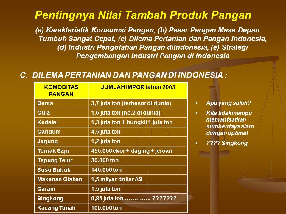 Pentingnya Nilai Tambah Produk Pangan C. DILEMA PERTANIAN DAN PANGAN DI INDONESIA : Apa yang salah? Kita tidakmampu memanfaatkan sumberdaya alam denga