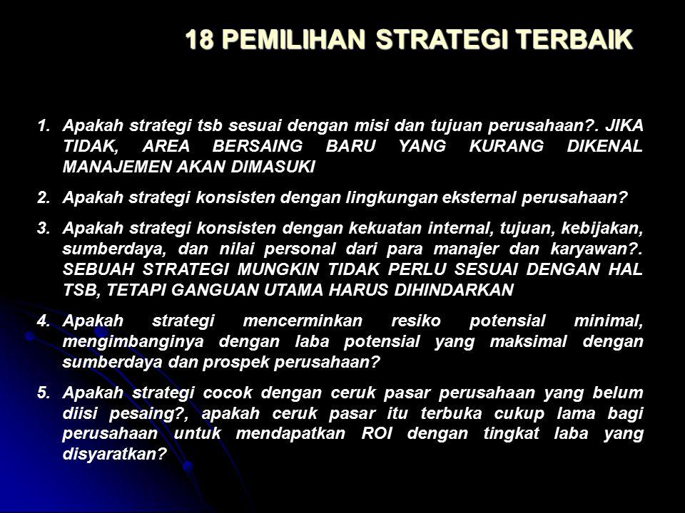 1.Apakah strategi tsb sesuai dengan misi dan tujuan perusahaan?. JIKA TIDAK, AREA BERSAING BARU YANG KURANG DIKENAL MANAJEMEN AKAN DIMASUKI 2.Apakah s