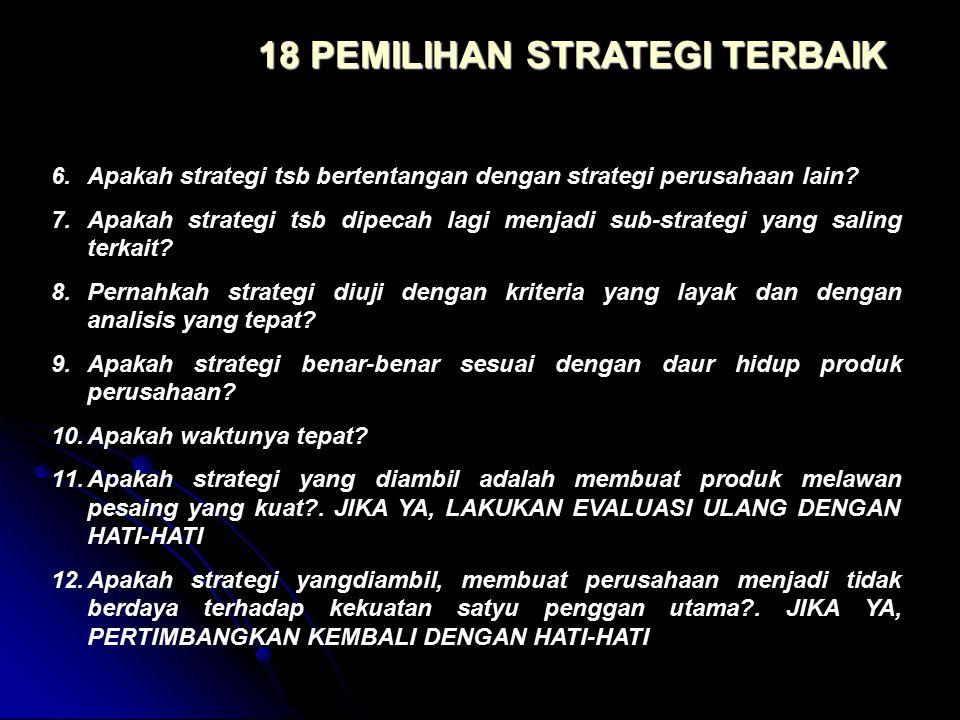 6.Apakah strategi tsb bertentangan dengan strategi perusahaan lain? 7.Apakah strategi tsb dipecah lagi menjadi sub-strategi yang saling terkait? 8.Per