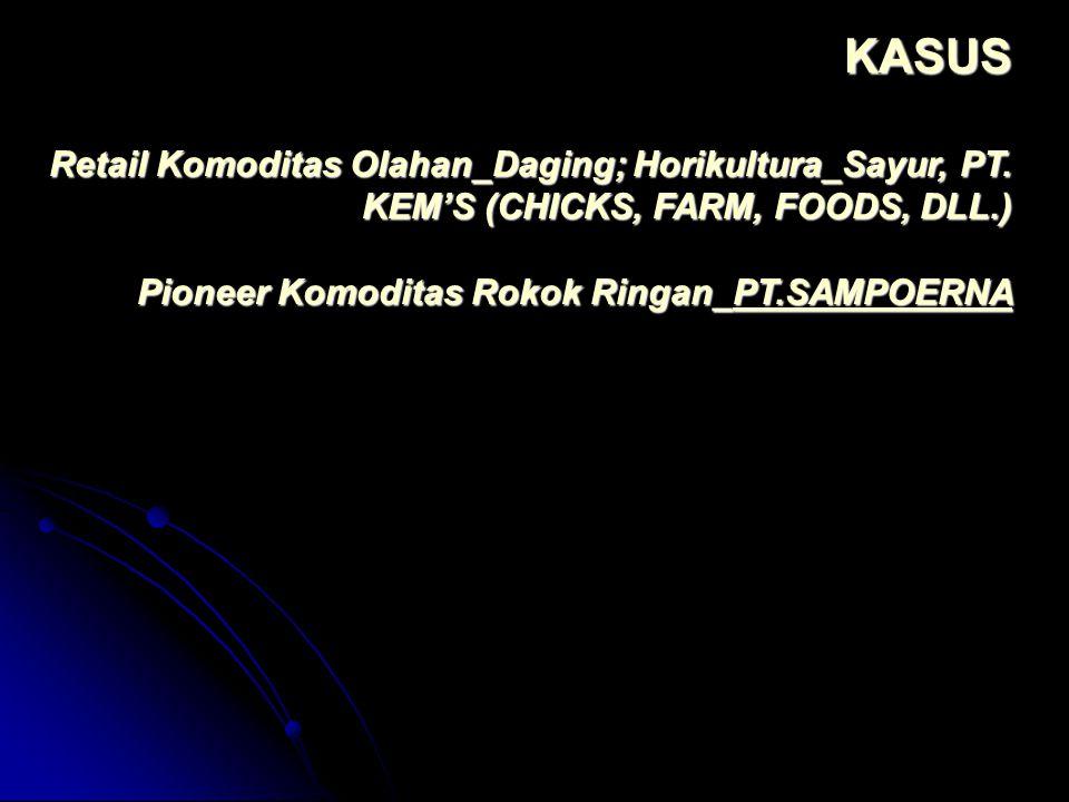 KASUS Retail Komoditas Olahan_Daging; Horikultura_Sayur, PT. KEM'S (CHICKS, FARM, FOODS, DLL.) Pioneer Komoditas Rokok Ringan_PT.SAMPOERNA PT.SAMPOERN