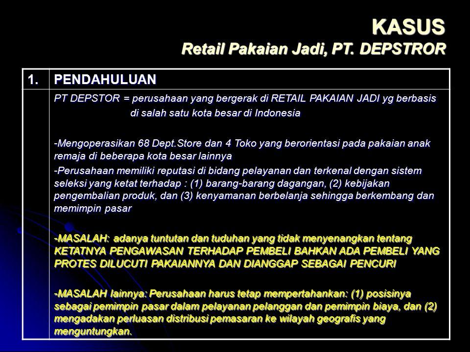 1.PENDAHULUAN PT DEPSTOR = perusahaan yang bergerak di RETAIL PAKAIAN JADI yg berbasis di salah satu kota besar di Indonesia di salah satu kota besar