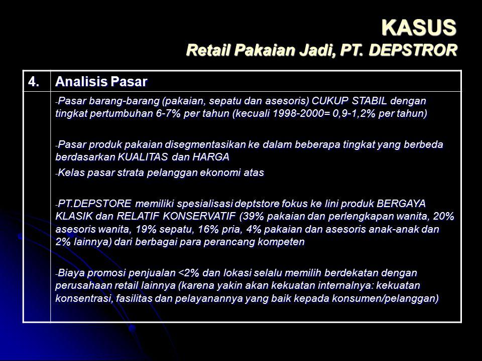 KASUS Retail Pakaian Jadi, PT. DEPSTROR 4. Analisis Pasar - Pasar barang-barang (pakaian, sepatu dan asesoris) CUKUP STABIL dengan tingkat pertumbuhan