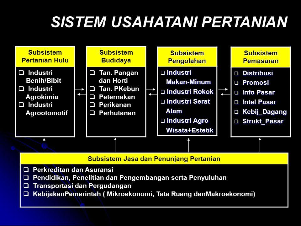 Subsistem Pertanian Hulu  Industri Benih/Bibit  Industri Agrokimia  Industri Agrootomotif Subsistem Budidaya  Tan. Pangan dan Horti  Tan. PKebun