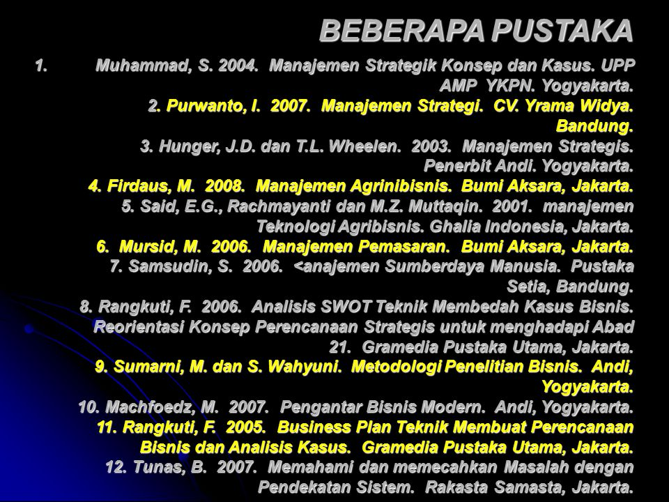 1.Muhammad, S. 2004. Manajemen Strategik Konsep dan Kasus. UPP AMP YKPN. Yogyakarta. 2. Purwanto, I. 2007. Manajemen Strategi. CV. Yrama Widya. Bandun