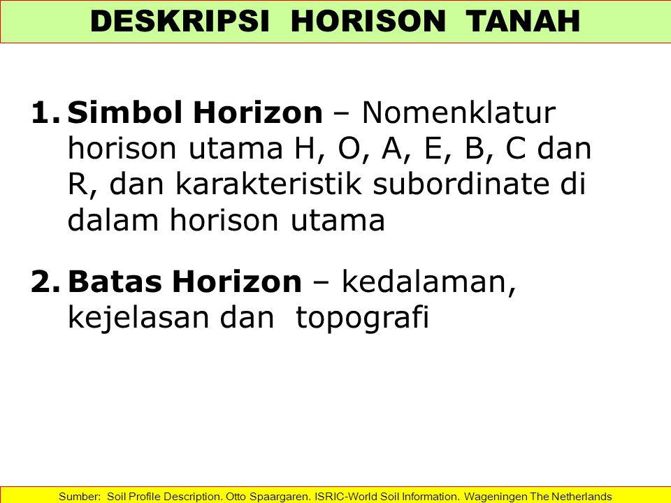 1.Simbol Horizon – Nomenklatur horison utama H, O, A, E, B, C dan R, dan karakteristik subordinate di dalam horison utama 2.Batas Horizon – kedalaman,