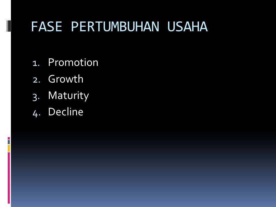 FASE PERTUMBUHAN USAHA 1. Promotion 2. Growth 3. Maturity 4. Decline