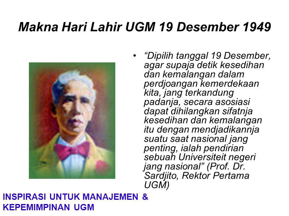 """Makna Hari Lahir UGM 19 Desember 1949 """"Dipilih tanggal 19 Desember, agar supaja detik kesedihan dan kemalangan dalam perdjoangan kemerdekaan kita, jan"""