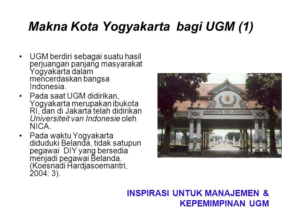 Makna Kota Yogyakarta bagi UGM (1) UGM berdiri sebagai suatu hasil perjuangan panjang masyarakat Yogyakarta dalam mencerdaskan bangsa Indonesia. Pada