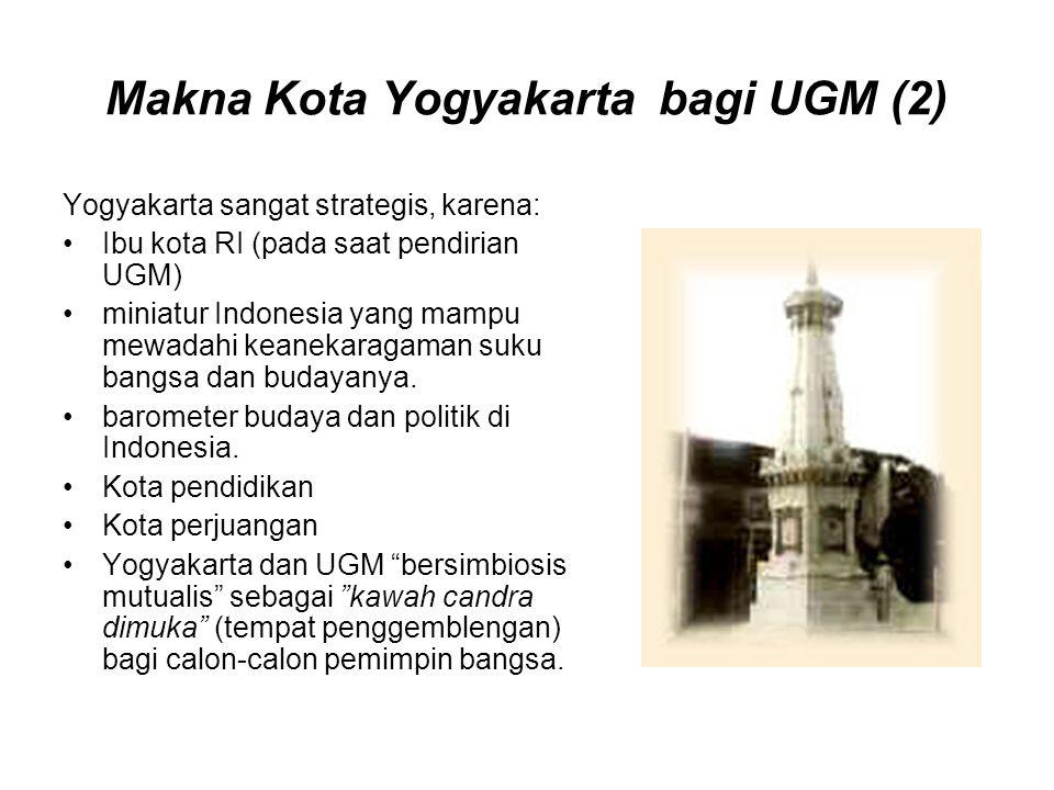 Makna Kota Yogyakarta bagi UGM (2) Yogyakarta sangat strategis, karena: Ibu kota RI (pada saat pendirian UGM) miniatur Indonesia yang mampu mewadahi k