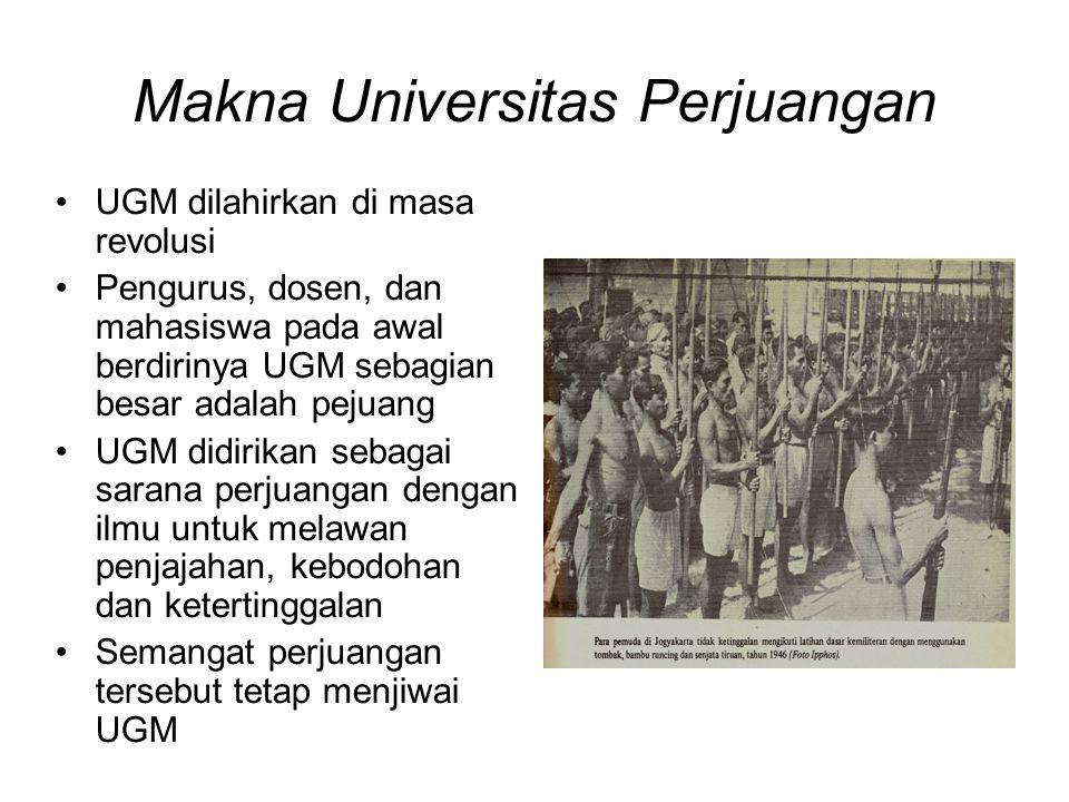 Makna Universitas Perjuangan UGM dilahirkan di masa revolusi Pengurus, dosen, dan mahasiswa pada awal berdirinya UGM sebagian besar adalah pejuang UGM