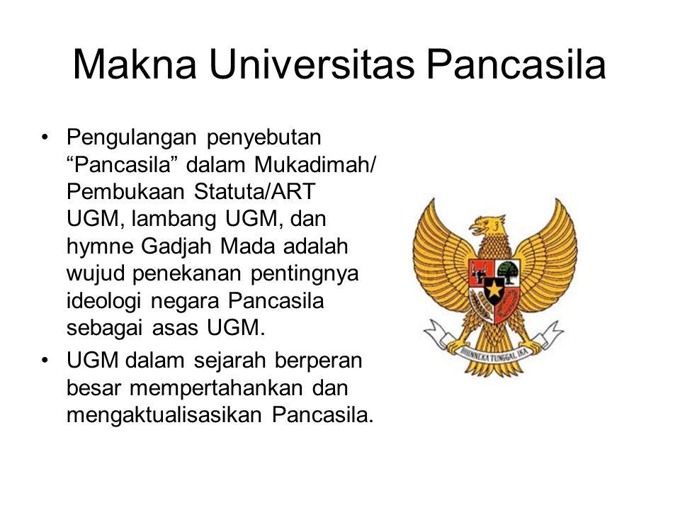 """Makna Universitas Pancasila Pengulangan penyebutan """"Pancasila"""" dalam Mukadimah/ Pembukaan Statuta/ART UGM, lambang UGM, dan hymne Gadjah Mada adalah w"""