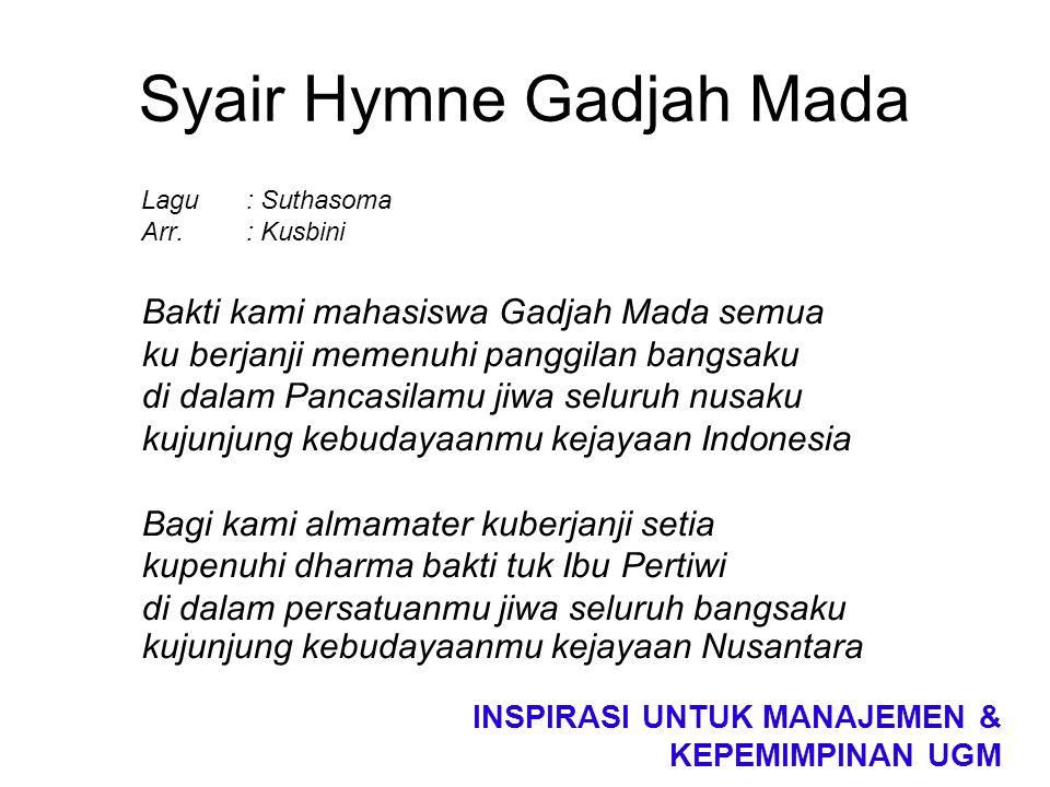 Syair Hymne Gadjah Mada Lagu : Suthasoma Arr.: Kusbini Bakti kami mahasiswa Gadjah Mada semua ku berjanji memenuhi panggilan bangsaku di dalam Pancasi