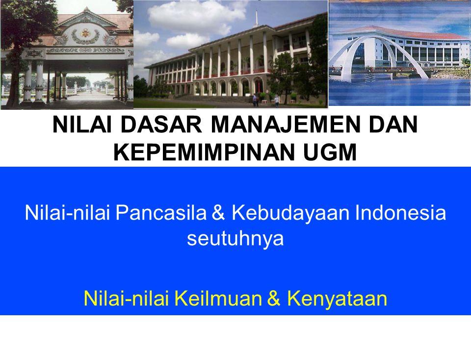 NILAI DASAR MANAJEMEN DAN KEPEMIMPINAN UGM Nilai-nilai Pancasila & Kebudayaan Indonesia seutuhnya Nilai-nilai Keilmuan & Kenyataan