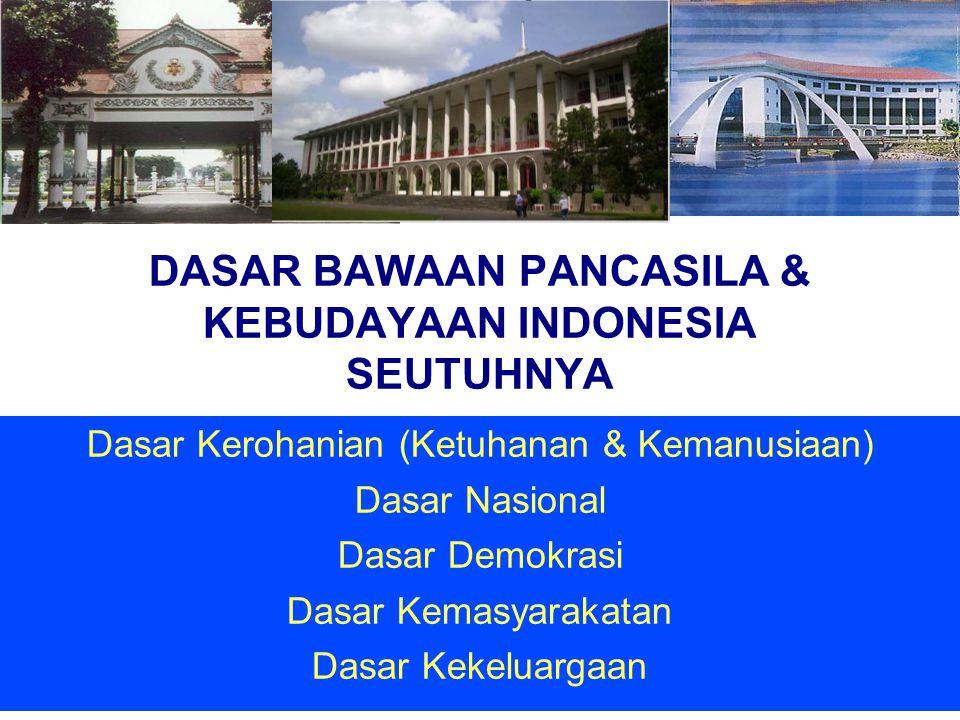 DASAR BAWAAN PANCASILA & KEBUDAYAAN INDONESIA SEUTUHNYA Dasar Kerohanian (Ketuhanan & Kemanusiaan) Dasar Nasional Dasar Demokrasi Dasar Kemasyarakatan
