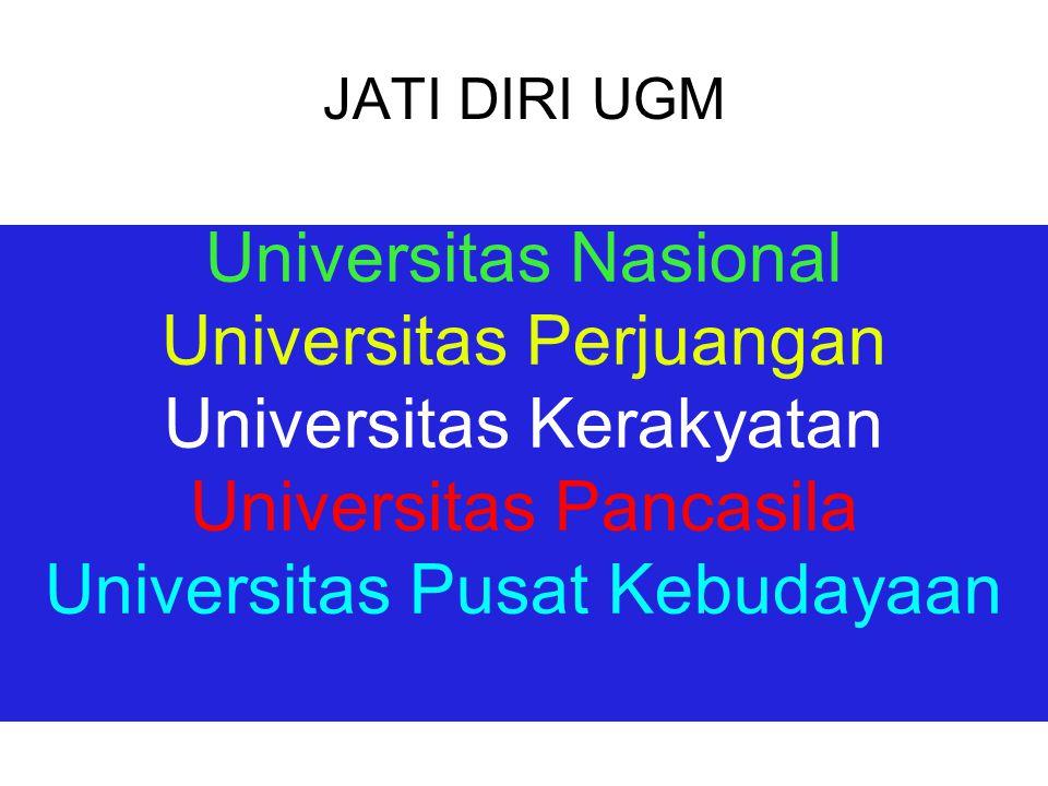 Makna Universitas Kerakyatan Universitas kerakyatan berarti UGM lebih berorientasi kepada kepentingan rakyat.