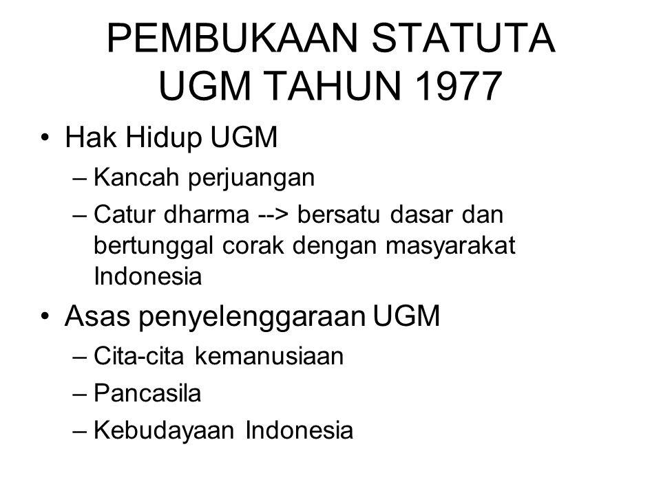 PEMBUKAAN STATUTA UGM TAHUN 1977 Hak Hidup UGM –Kancah perjuangan –Catur dharma --> bersatu dasar dan bertunggal corak dengan masyarakat Indonesia Asa