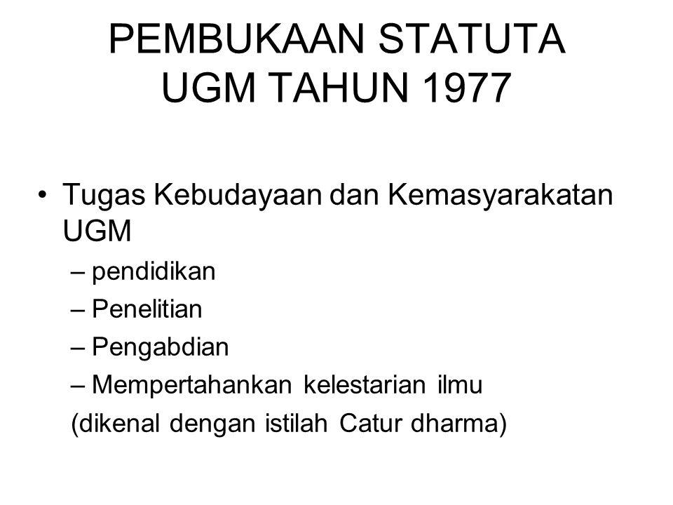 PEMBUKAAN STATUTA UGM TAHUN 1977 Tugas Kebudayaan dan Kemasyarakatan UGM –pendidikan –Penelitian –Pengabdian –Mempertahankan kelestarian ilmu (dikenal