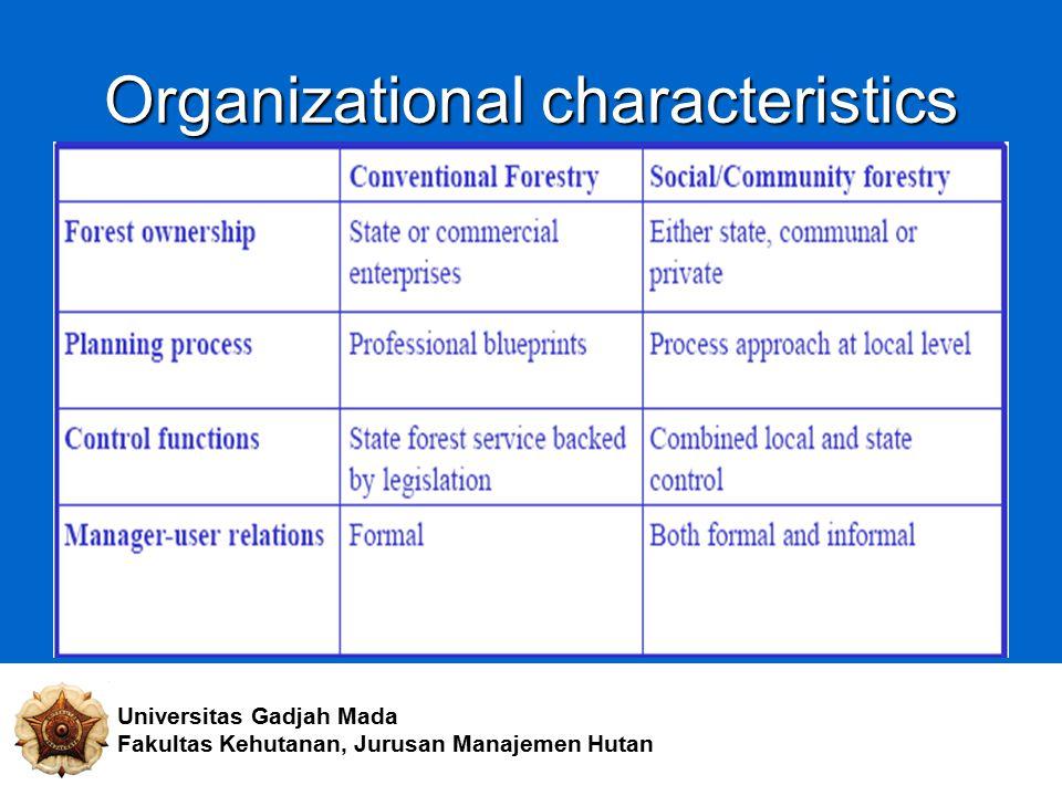 Organizational characteristics Universitas Gadjah Mada Fakultas Kehutanan, Jurusan Manajemen Hutan