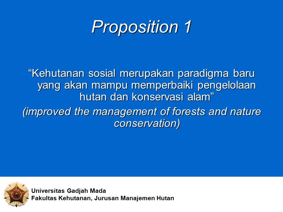"""Proposition 1 """"Kehutanan sosial merupakan paradigma baru yang akan mampu memperbaiki pengelolaan hutan dan konservasi alam"""" (improved the management o"""