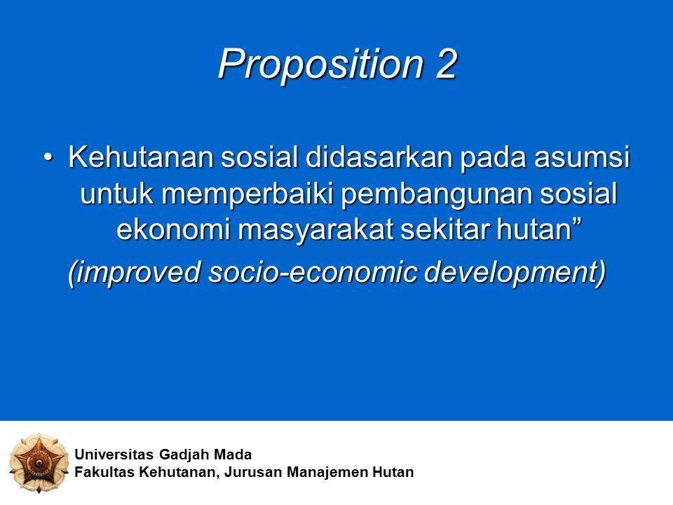"""Proposition 2 Kehutanan sosial didasarkan pada asumsi untuk memperbaiki pembangunan sosial ekonomi masyarakat sekitar hutan""""Kehutanan sosial didasarka"""