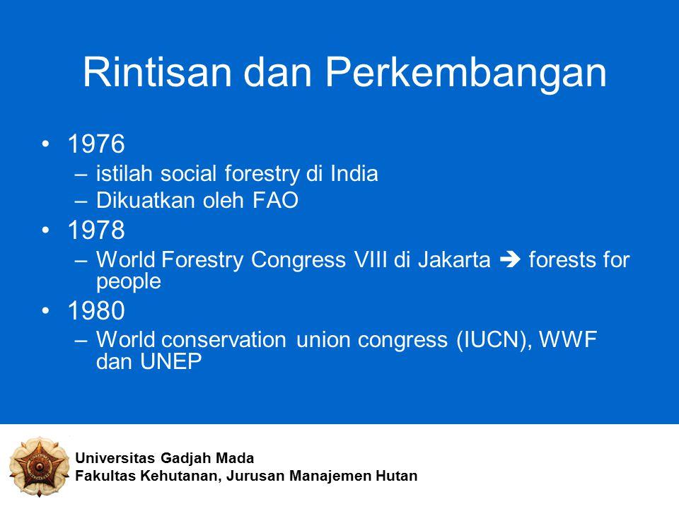 Rintisan dan Perkembangan 1976 –istilah social forestry di India –Dikuatkan oleh FAO 1978 –World Forestry Congress VIII di Jakarta  forests for peopl