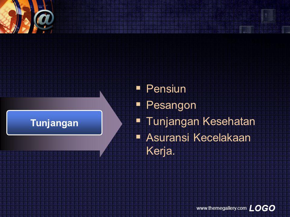 LOGO www.themegallery.com Tunjangan  Pensiun  Pesangon  Tunjangan Kesehatan  Asuransi Kecelakaan Kerja.