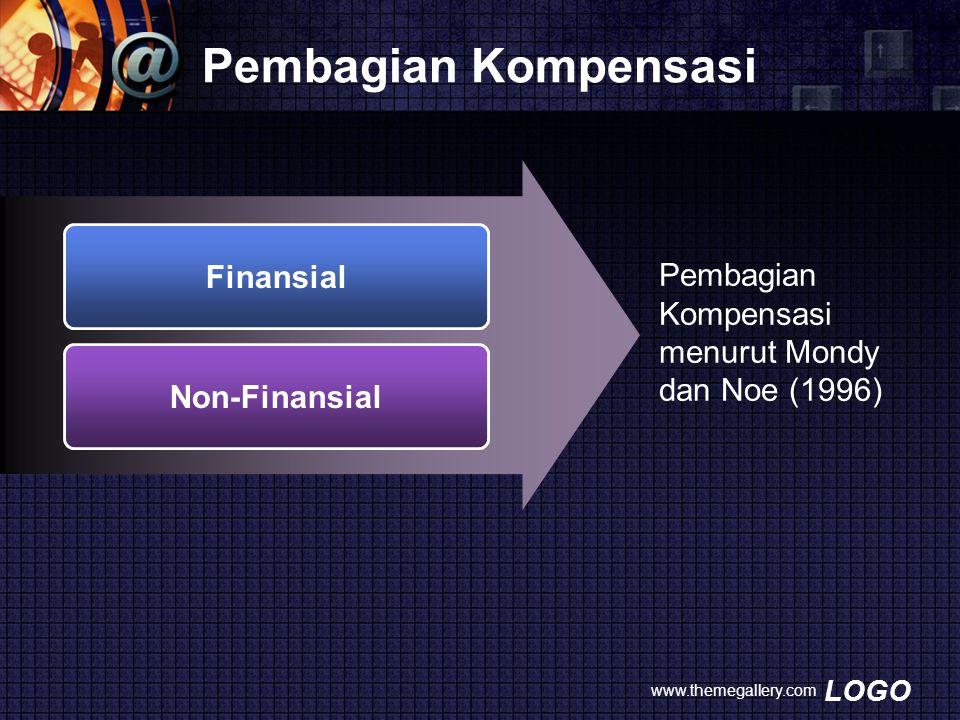 LOGO Pembagian Kompensasi www.themegallery.com Finansial Non-Finansial Pembagian Kompensasi menurut Mondy dan Noe (1996)