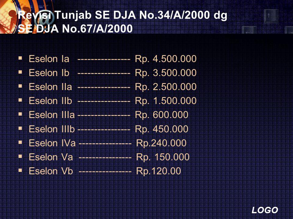 LOGO Revisi Tunjab SE DJA No.34/A/2000 dg SE DJA No.67/A/2000  Eselon Ia ---------------- Rp. 4.500.000  Eselon Ib ---------------- Rp. 3.500.000 