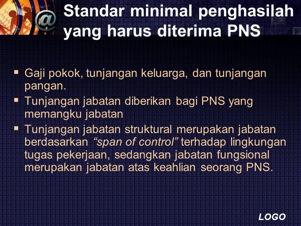LOGO Standar minimal penghasilah yang harus diterima PNS  Gaji pokok, tunjangan keluarga, dan tunjangan pangan.  Tunjangan jabatan diberikan bagi PN