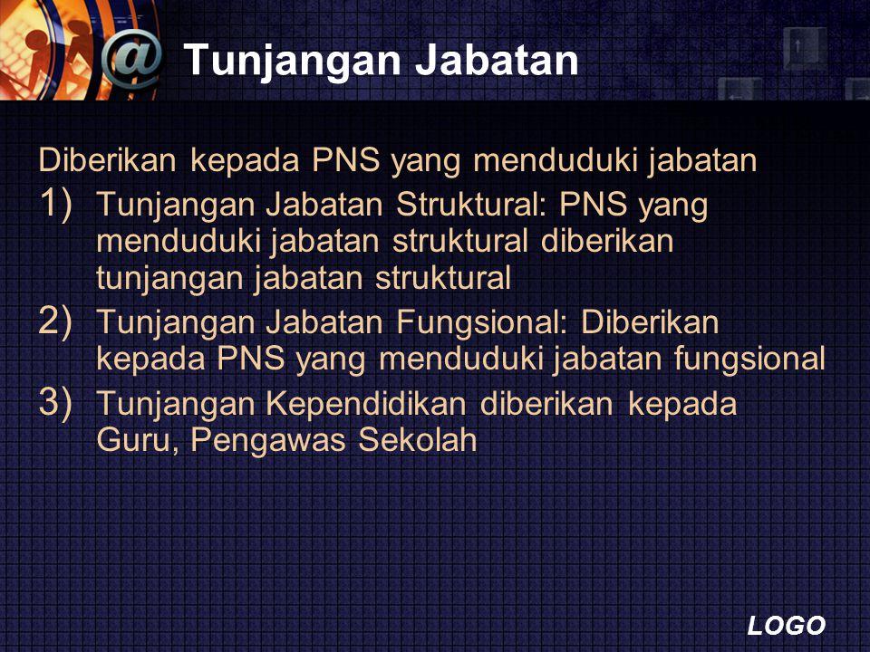 LOGO Tunjangan Jabatan Diberikan kepada PNS yang menduduki jabatan 1) Tunjangan Jabatan Struktural: PNS yang menduduki jabatan struktural diberikan tu