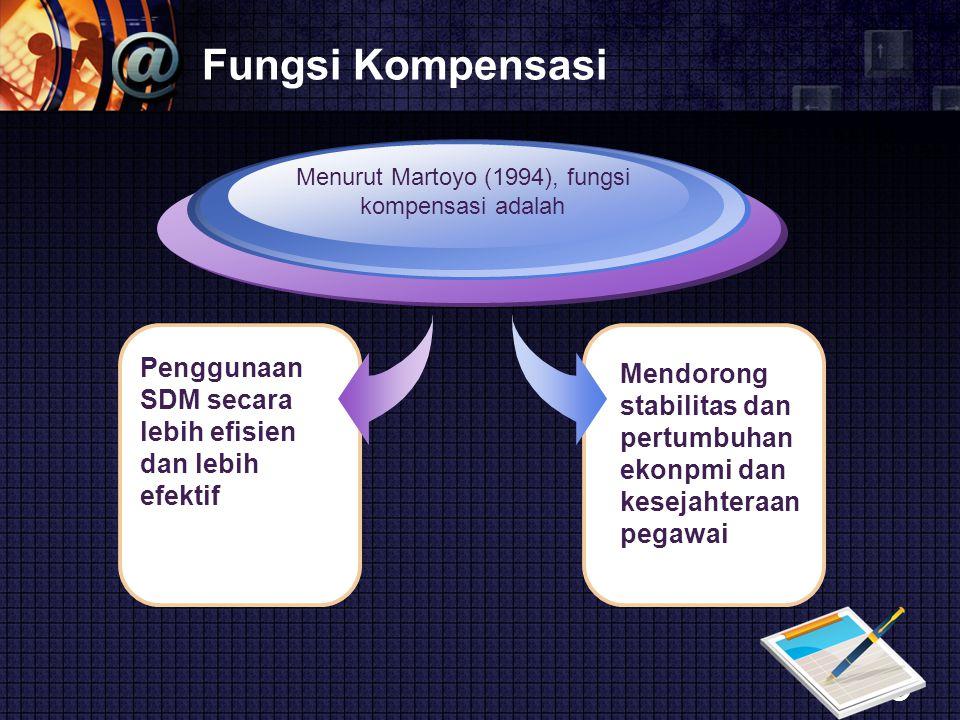LOGO Fungsi Kompensasi Penggunaan SDM secara lebih efisien dan lebih efektif Menurut Martoyo (1994), fungsi kompensasi adalah Mendorong stabilitas dan