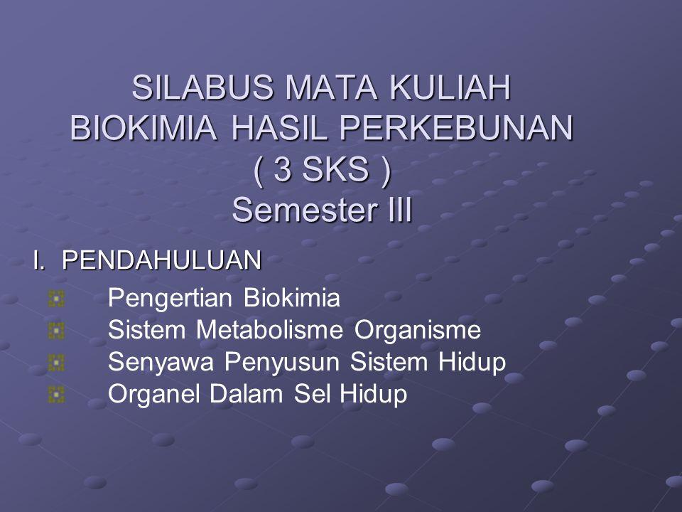 SILABUS MATA KULIAH BIOKIMIA HASIL PERKEBUNAN ( 3 SKS ) Semester III SILABUS MATA KULIAH BIOKIMIA HASIL PERKEBUNAN ( 3 SKS ) Semester III I.