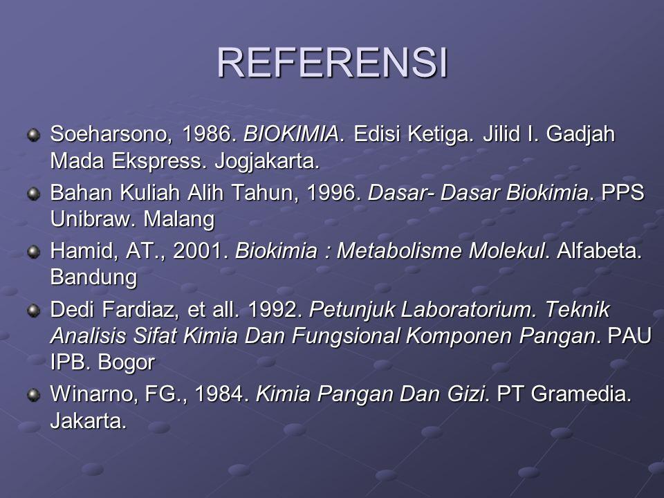 REFERENSI Soeharsono, 1986.BIOKIMIA. Edisi Ketiga.