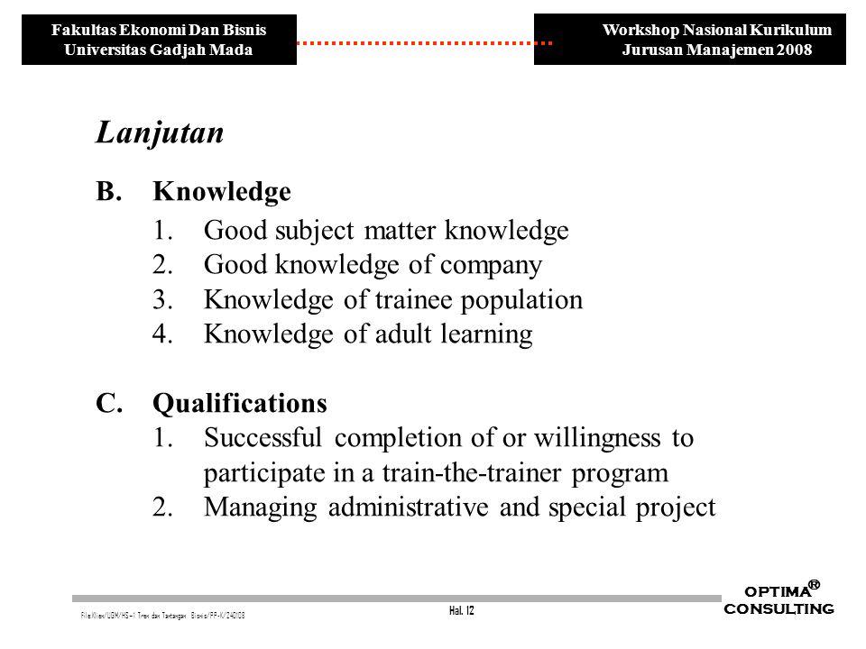 Hal. 12 OPTIMA CONSULTING ® File:Klien/UGM/HS~1 Tren dan Tantangan Bisnis/PP-K/240108 Workshop Nasional Kurikulum Jurusan Manajemen 2008 Fakultas Ekon