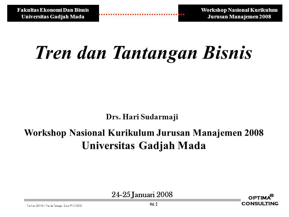 Hal. 2 OPTIMA CONSULTING ® File:Klien/UGM/HS~1 Tren dan Tantangan Bisnis/PP-K/240108 Workshop Nasional Kurikulum Jurusan Manajemen 2008 Fakultas Ekono