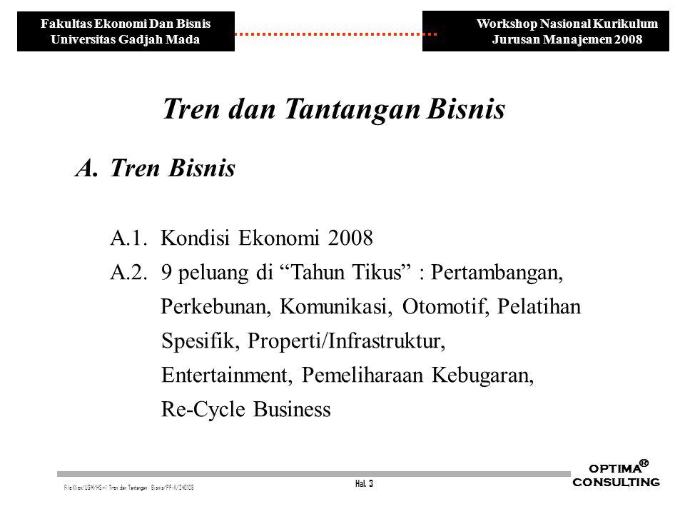 Hal. 3 OPTIMA CONSULTING ® File:Klien/UGM/HS~1 Tren dan Tantangan Bisnis/PP-K/240108 Workshop Nasional Kurikulum Jurusan Manajemen 2008 Fakultas Ekono